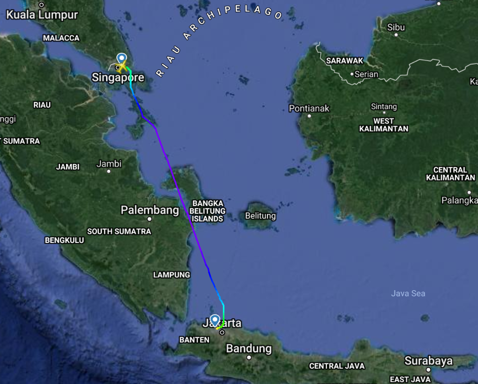 Singapore to Jakarta Flight Path