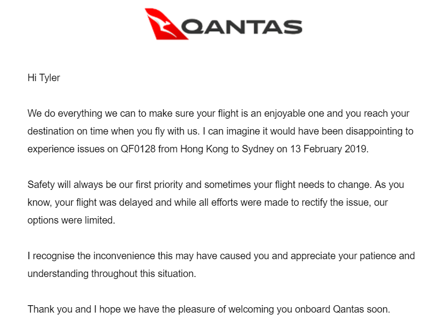 Qantas Delay Apology