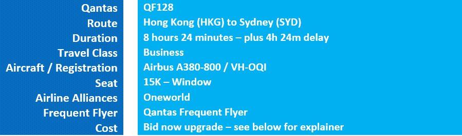 HKG to SYD Qantas Business Class
