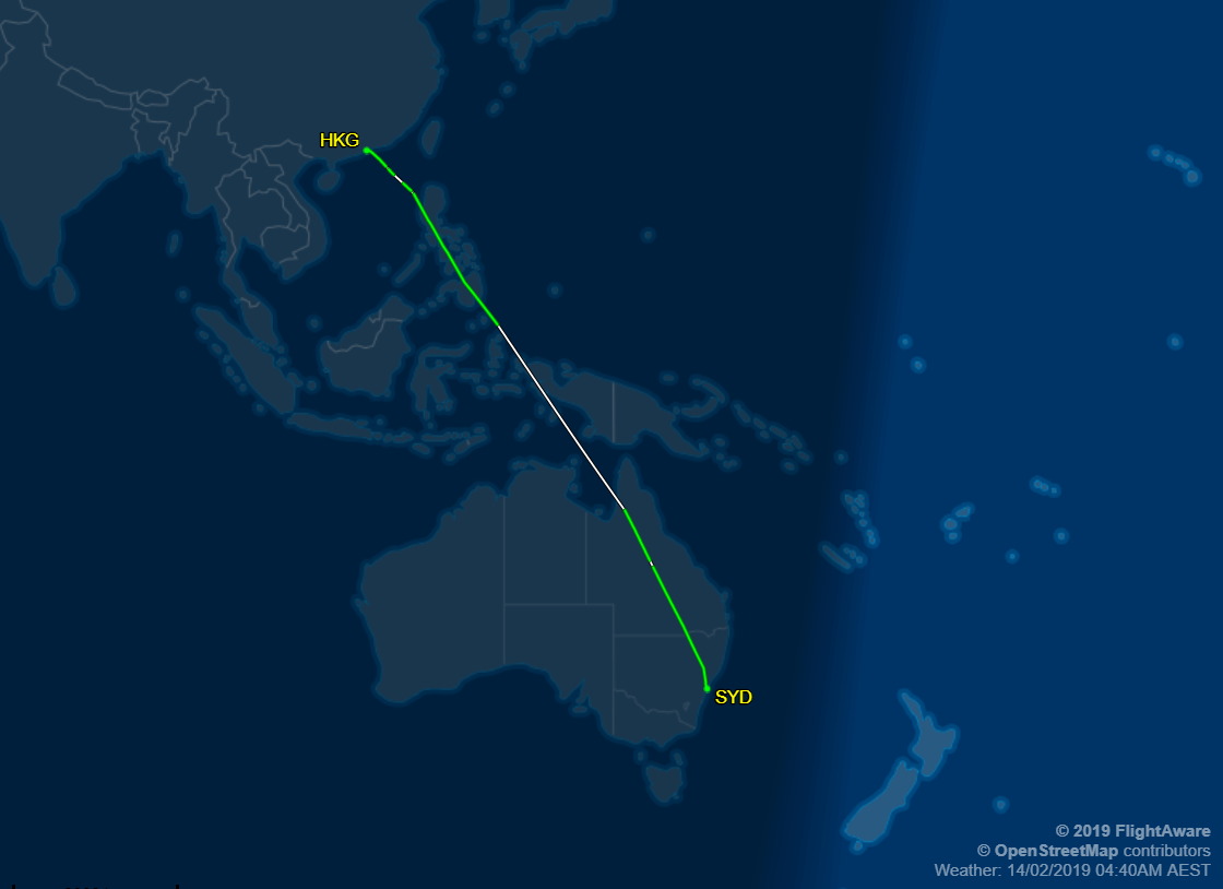 HKG to SYD Airplane Route